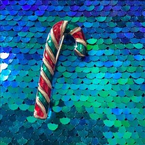 Vintage Christmas Candy Cane Gold  Pin Brooch